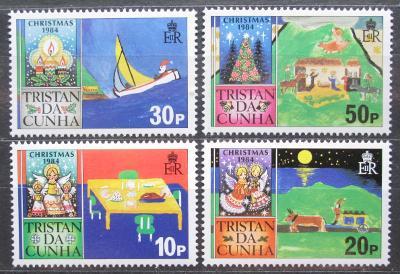 Tristan da Cunha 1984 Vánoce, dětské kresby Mi# 377-80 0870