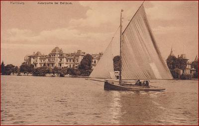 Hamburg * plachetnice, lodě, Alsterpartie, Bellevue * Německo * Z612