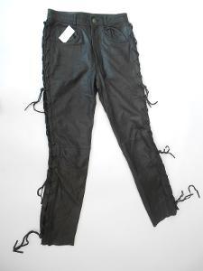 Kožené kalhoty šněrovací vel. ?- pas: 74 cm