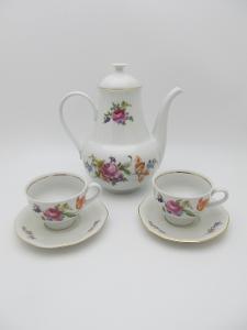 Kávová Čajová souprava, s růžičkama jako  Bernadotte, foto v popisu