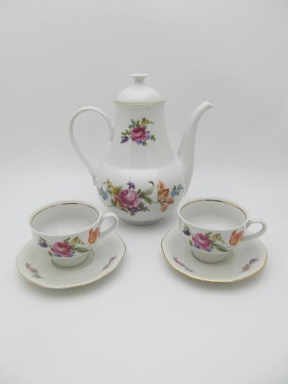 Kávová Čajová souprava, s růžičkama jako  Bernadotte, foto v popisu - Zařízení