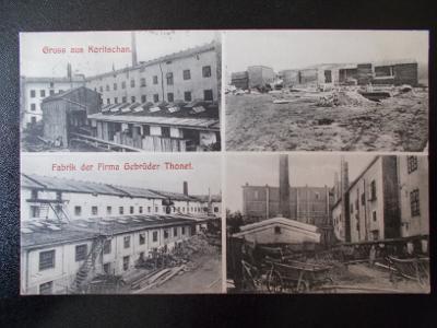 Zlín Kroměříž Koryčany sbírková koláž továrna Bratří Thonetú nábytek