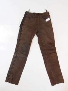 Kožené kalhoty šněrovací vel. M- pas: 74-78 cm
