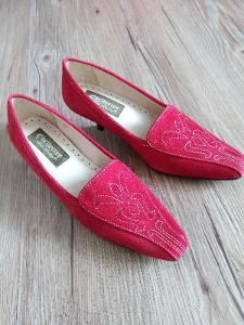 Výprodej! Červené semišové Boty Paolo Santini vel.37
