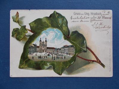 Uherské Hradiště Sbírková koláž tlačená břečťan list náměstí