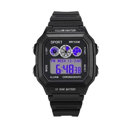 Pánské digitální hodinky s modrým podsvícen