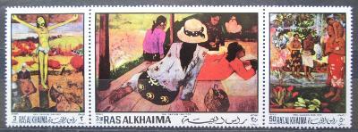 Rás al-Chajma 1970 Umění, Paul Gauguin Mi# 392-94 A Kat 8€ 1586
