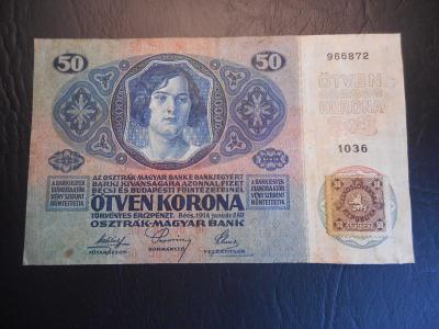 50 korun 1914 s kolkem,pekny stav