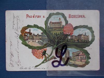 Praha Benešov Koláž Čtyřlístek jetel litografie Konopiště nemocnice