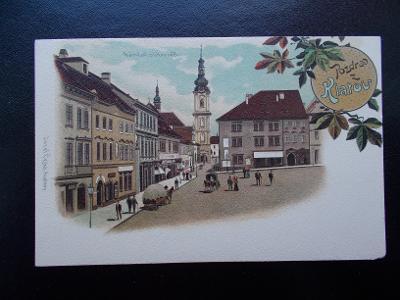 Šumava Klatovy litografie koláž náměstí s Bílou věží dlouhá adresa
