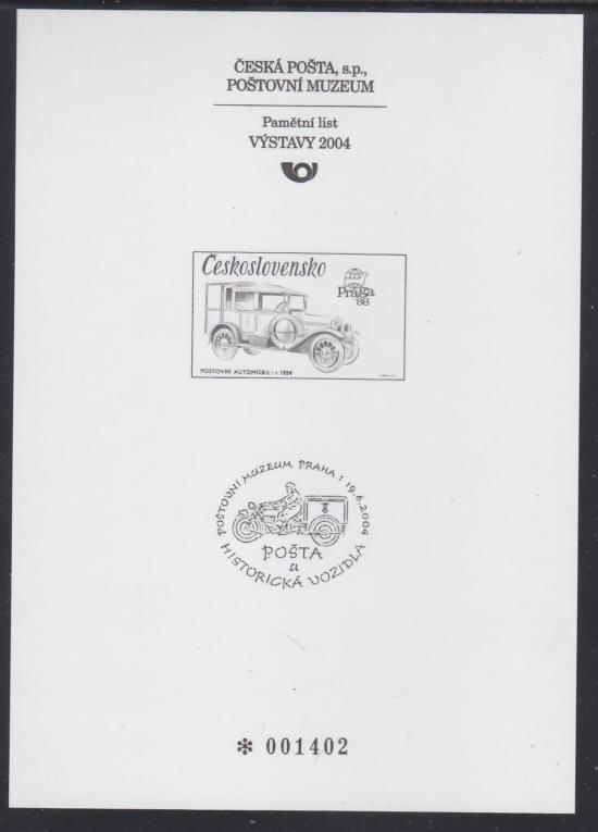 ČR - PŘÍLEŽITOSTNÝ TISK POŠTOVNÍ MUZEUM 2003 AUTA 2795 PTM 23 - LEVNĚ - Filatelie