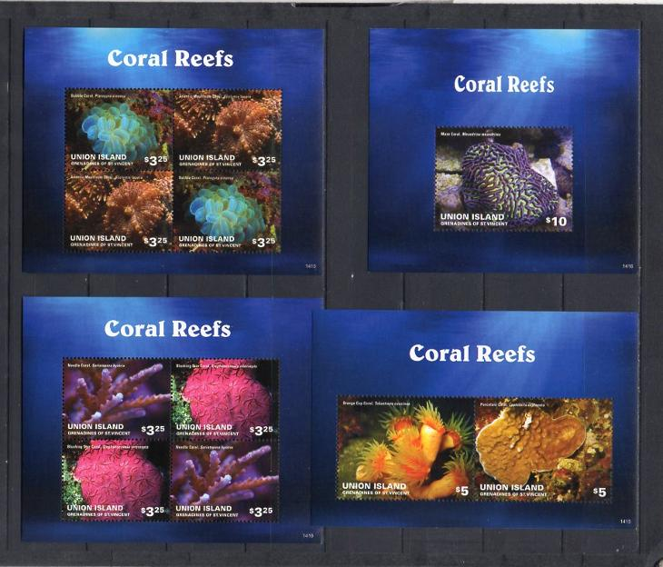 Union Island-Korálové útesy 2014**  Mi.2xKlb.768-71+2xBl. / 39 € - Filatelie