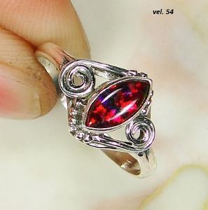 Nový stříbrný prsten se syntetickým australským opálem Ag 925/1000