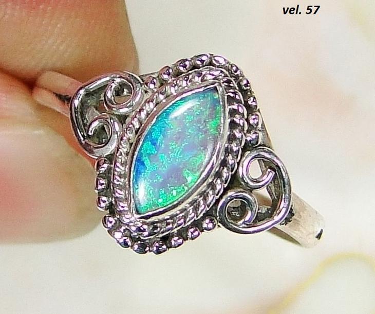 Nový stříbrný prsten se syntetickým australským opálem Ag 925/1000 - Šperky