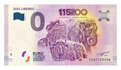 0 Euro bankovka Česko 2019 CZAC 2019-1 ZOO LIBEREC - druhá česká !!!