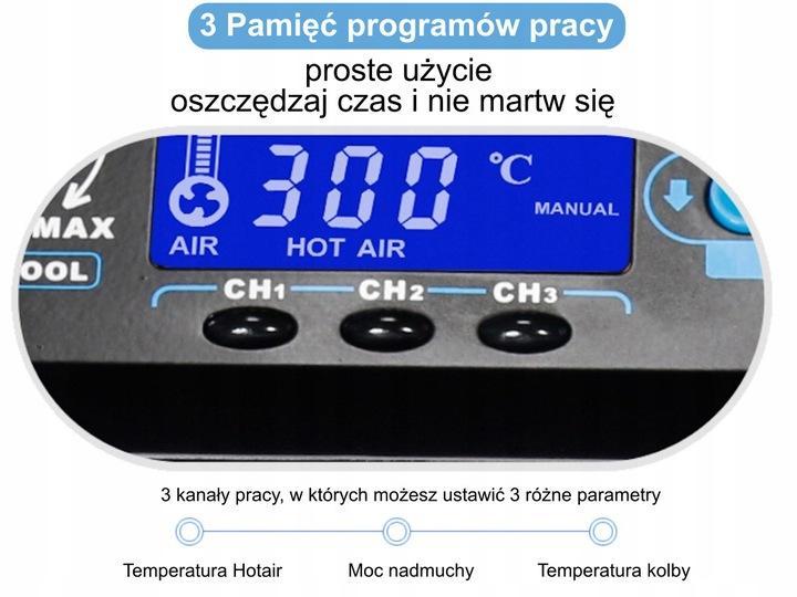 Pájecí stanice 992DA+ 3v1 KOMPRESOR x 3 Pamětí Elektrický odsavač - Nářadí