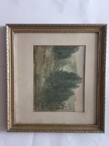 Hezký, Starodávný Akvarel - Jan Rybák -  Mýtina u Lesa