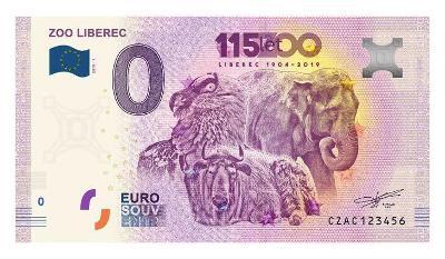 0 Euro bankovka Česko 2019 CZAC 2019-1 ZOO LIBEREC, druhá česká !!!
