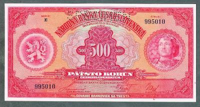 Stará bankovka 500 korun 1929 stav UNC !!!