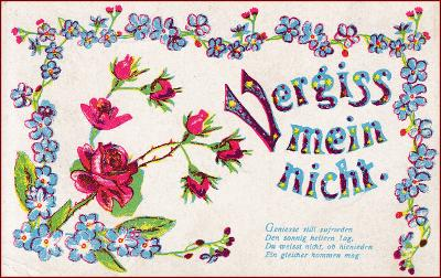 Květiny * kytice, růže, pomněnky, ornament, báseň, gratulační * M2556
