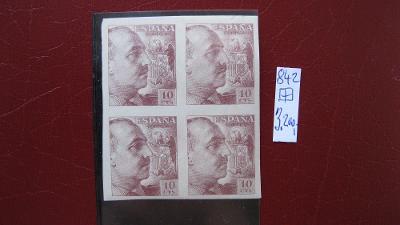 Španělsko. Čistý čtyřblok známek katal. číslo 842 U stopa po nálepce