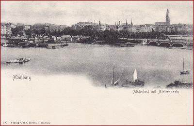 Hamburg * Alsterlust, Alsterbassin, lodě, most * Německo * Z799