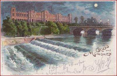 München * Maximilianeum, most, budova, řeka, měsíc * Německo * Z1237