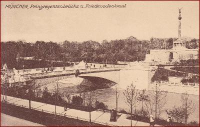 München * Prinzregentenbrücke, most, památník, socha * Německo * Z2281
