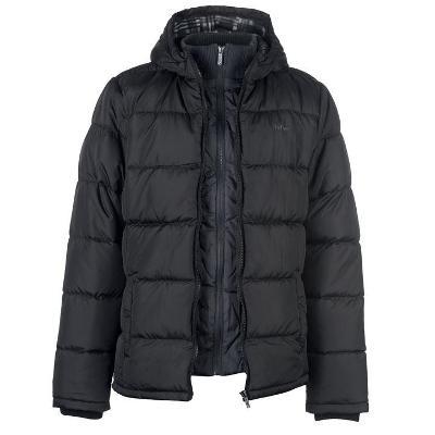 Pánská černá prošívaná zimní bunda LEE COOPER s kapucí,  XXXL (3XL)