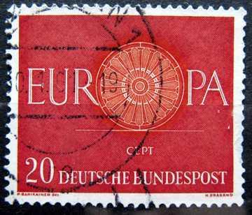 BUNDESPOST: MiNr.338 19-Spoke Wheel 20pf, Europa Issue 1960