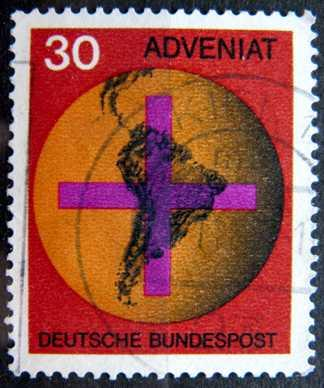 BUNDESPOST: MiNr.545 Cross and Map of South America 30pf 1967