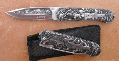 Zavírací nůž celokov KANDAR motiv jelen - 20/12 cm