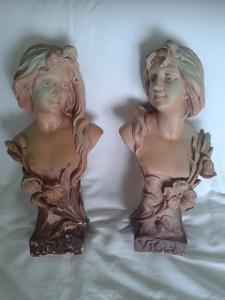 Secesní párové busty dívek velké 47 cm