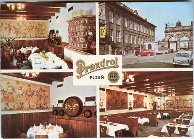 Plzeň - pivo - reklamní velká pohlednice, Restaurace Prazdroj, ČSSR