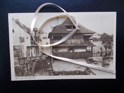 Karlovy Vary Cheb Eger dřevěný dům Sudety razítko propaganda Volksturm