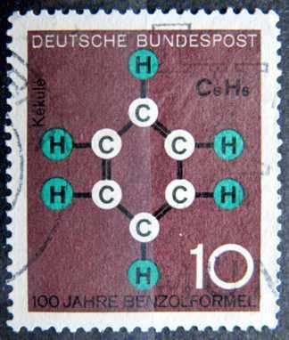 BUNDESPOST: MiNr.440 Benzene Ring 10pf 1964