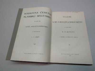 STAROŽITNÁ KNIHA / BELETRIE K. H. BOROVSKÉHO / F.V. KREJČÍ  1906