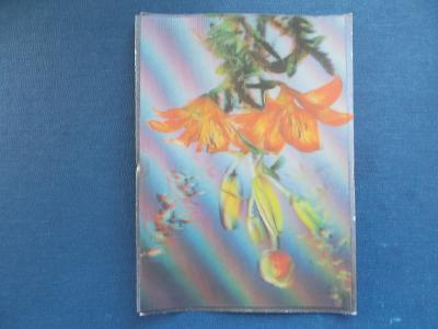 Trojrozměrná pohled měňavá 3 D  květy kytice Srdečné přání ČSSR