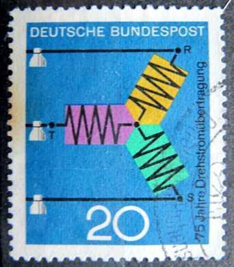BUNDESPOST: MiNr.521 Diagram of Three-Phase Transmission 20pf 1966