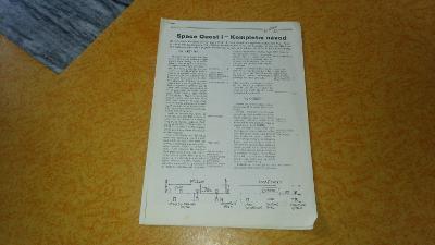 Kopie návodu na hru Space Quest z časopisu Excalibur