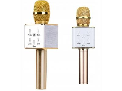 Karaoke bluetooth mikrofon zlatá se stereo reproduktorem + dárek
