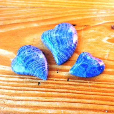 Kabošon Srdce Set - Modrý Chalcedon