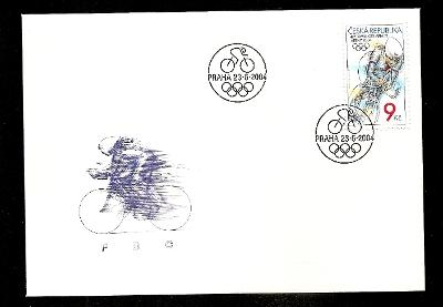FDC 405 LOH Atény 2004 - cyklistka (150 Kč)