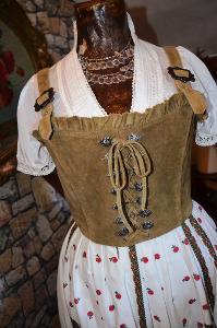 Luxusní dobová kožená vesta s řetízky