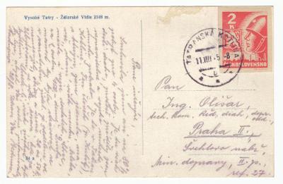 1945 (ČSR II) - Pohlednice - Košiská 2 K, prošlá poštou (3616)