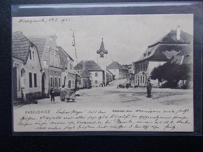 Plzeň jih Kasejovice střed obce živá Blatenská ulice Sbírkový pohled