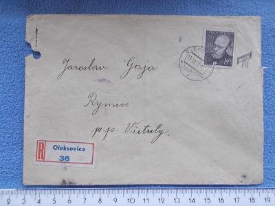 Dopis doporučeně R nálepka Oleksovice 36  Rymice  Všetuly
