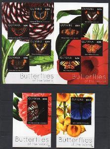 Guyana-Motýli 2012**  Mi.2Klb 8276-83+Bl.847-848 / 24 €