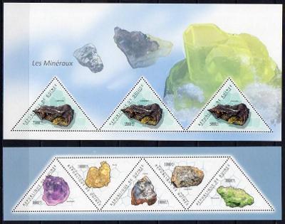 Guinea-Minerály 2011**   Mi.2Klb+2Bl. / Mi.76 €  /2 skeny