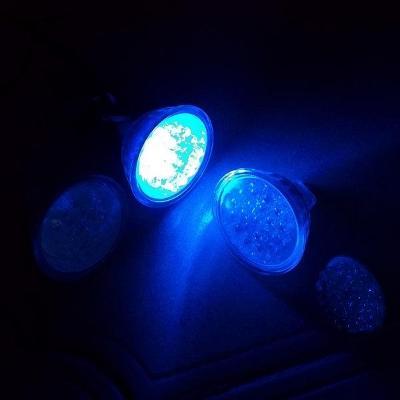 3 x Modrá Led žárovka a napájecí Trafo 6-8V  400mA   z 220V
